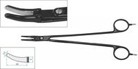 ЕМ284 Биполярный инструмент ТЕРМОШОВ (зажим для лигирования крупных сосудов, загнутый, длина 230 мм, изгиб 30 град., размер неизолированной части 26 х 3,5 мм)