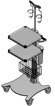 ЕН395-3 Столик аппаратный с набором приспособлений (корзина, инфузионная стойка, держатель УЗ узла, дополнительная полка, держатель банки, банка)