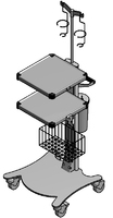 ЕН395-2 Столик аппаратный с набором приспособлений (корзина, инфузийная стойка, держатель УЗ узла, дополнительная полка)
